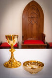 Communion attributes on altar Royalty Free Stock Photos