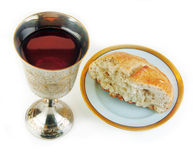 Free Communion Bread And Wine On White Background Royalty Free Stock Image - 9364716