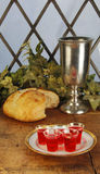 Communion Bread and Wine Stock Image
