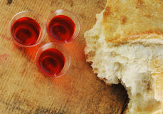 Communion Bread and Wine Stock Images