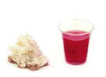 Communion Bread and Wine on White Stock Photo