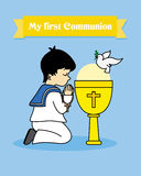 Communion card. Boy praying. My first communion card. Boy praying together with a calyx Stock Photos