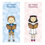 Communion card. My first communion card. Girl and boy reading the bible Royalty Free Stock Image