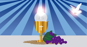 Communion Card template  with dove. The Holy Spirit and God's hand, wine and bread, as well as grapes, first communion is one of the sacraments of the Catholic Royalty Free Stock Photo