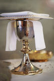 Communion chalice Catholic Church. Details Stock Photo