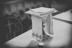Communion in a church stock photos