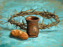 Communion and Crown of Thorns Painting. Communion and crown of thorns oil painting on board vector illustration