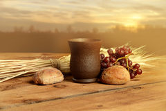 Communion Elements at Sunset Royalty Free Stock Photography