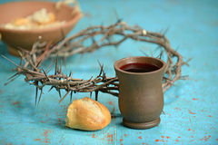 Communion Elements on Table Royalty Free Stock Images
