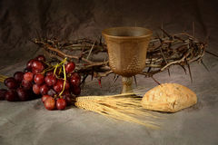 Communion Elements on Table Royalty Free Stock Photography
