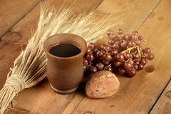 Communion Elements on Wooden Table Stock Photo