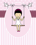 Communion girl. Girl First Communion card. girl on a swing Stock Photos