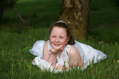 Communion Girl. This is a photograph of a young girl about 7 years of age, it's her first Holy Communion and it is a big day for her Royalty Free Stock Photos