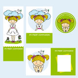 Communion girl. Set first communion girl. space for text Royalty Free Stock Images
