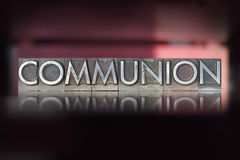 Communion Letterpress. The word Communion written in vintage letterpress type Royalty Free Stock Photos