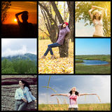 Communion with nature collage Royalty Free Stock Photos