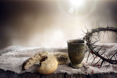 Communion And Passion - Unleavened Bread Chalice Of Wine And Crown. Of Thorns Royalty Free Stock Photos
