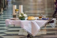 Communion Rite. Holy bread rite during the Catholic Mass Stock Photography