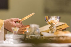 Communion Rite. Holy bread rite during the Catholic Mass Royalty Free Stock Images