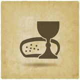 Communion symbol wine and bread vintage background vector illustration