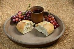 Communion Symbols. Bread, grapes and wine as Communion symbols Stock Image