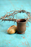 Communion Symbols. Bread, wine and crown of thorns as symbols of communion Stock Photo