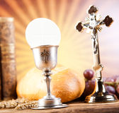 Communion wafer, bright background, saturated concept.  Stock Photo