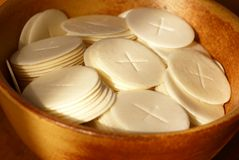 Communion waffers. Close-up of communion waffers in a bowl Stock Images
