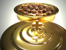 Communion Wine Tray. Isolation of Communion Wine Tray with lid in foreground royalty free stock photos