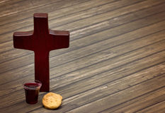 The Communion. On a wooden background royalty free stock photo