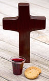 The Communion. On a wooden background stock photo