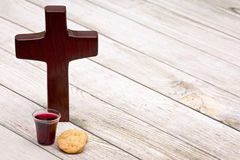 The Communion. On a wooden background stock images