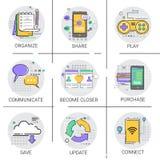 Communiquez l'ensemble de achat en ligne d'icône d'Applicatios de réseau de communication de base de données sociale de connexion Photographie stock libre de droits