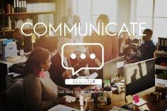 Communiquez le concept de connexion de technologie de la parole photos stock