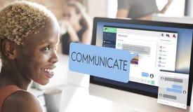 Communiquez le concept de technologie de conversation de communication image stock