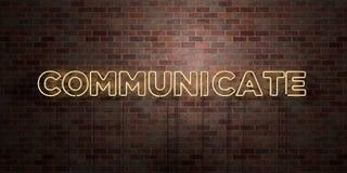 COMMUNIQUEZ - le tube au néon fluorescent se connectent la brique - la vue de face - photo courante gratuite de redevance rendue  illustration libre de droits