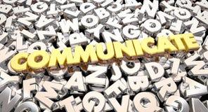 Communiquez les lettres de Word que le collage partagent des idées illustration de vecteur