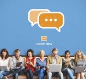 Communiquez socialisent l'entretien relient le concept de technologie image libre de droits