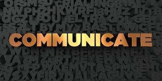 Communiquez - texte d'or sur le fond noir - la photo courante gratuite de redevance rendue par 3D illustration de vecteur