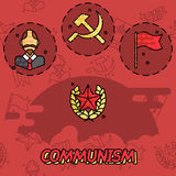 Communism flat concept icons Stock Images