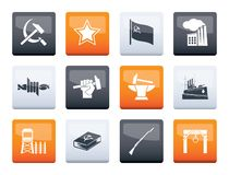 Communism, socialism and revolution icons over color background stock photography
