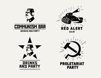 Communism style logos restaurant bar design vector template Royalty Free Stock Images
