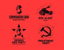 Communism style logos restaurant bar design vector template Royalty Free Stock Photos