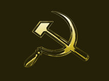 Communism symbol. Golden communis symbol on black background stock illustration