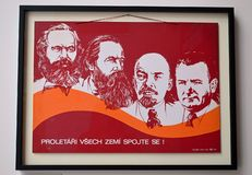 Communist artefacts - Communist leaders propaganda poster - Museum Prague. Communist artefacts - Communist leaders propaganda poster featuring Lenin, Marx royalty free stock photo
