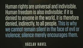 Communist artefacts - Václav Havel quote - Museum Prague royalty free stock images