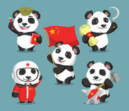 Communist chinese panda cartoons Stock Image