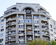 Communist-era apartment block in Bucharest, Romania. A block of flats from the Ceausescu era in central Bucharest, Romania royalty free stock photos