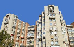 Communist-era apartment blocks in Bucharest, Romania. Blocks of flats built in the the Ceausescu-era during his destruction/rebuilding of the Uranus disctrict of royalty free stock photo