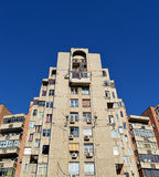 Communist-era apartment blocks in Bucharest, Romania. Blocks of flats built in the the Ceausescu-era during his destruction/rebuilding of the Uranus disctrict of stock images